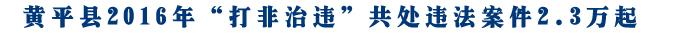 """黄平县2016年""""打非治违""""共处违法案件2.3万起"""